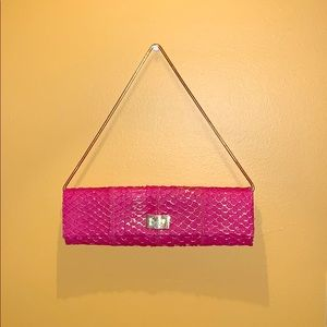 Handbags - Pink clutch with gold design